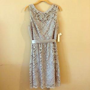 "Gray ""Simply Liliana"" Lace Boatneck Dress"